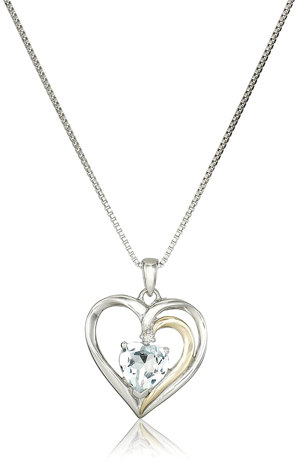 Amazon sterling silver and 14k yellow gold gold aquamarine and amazon sterling silver and 14k yellow gold gold aquamarine and diamond heart pendant necklace 007 cttw i j color i2 i3 clarity 18 jewelry aloadofball Image collections