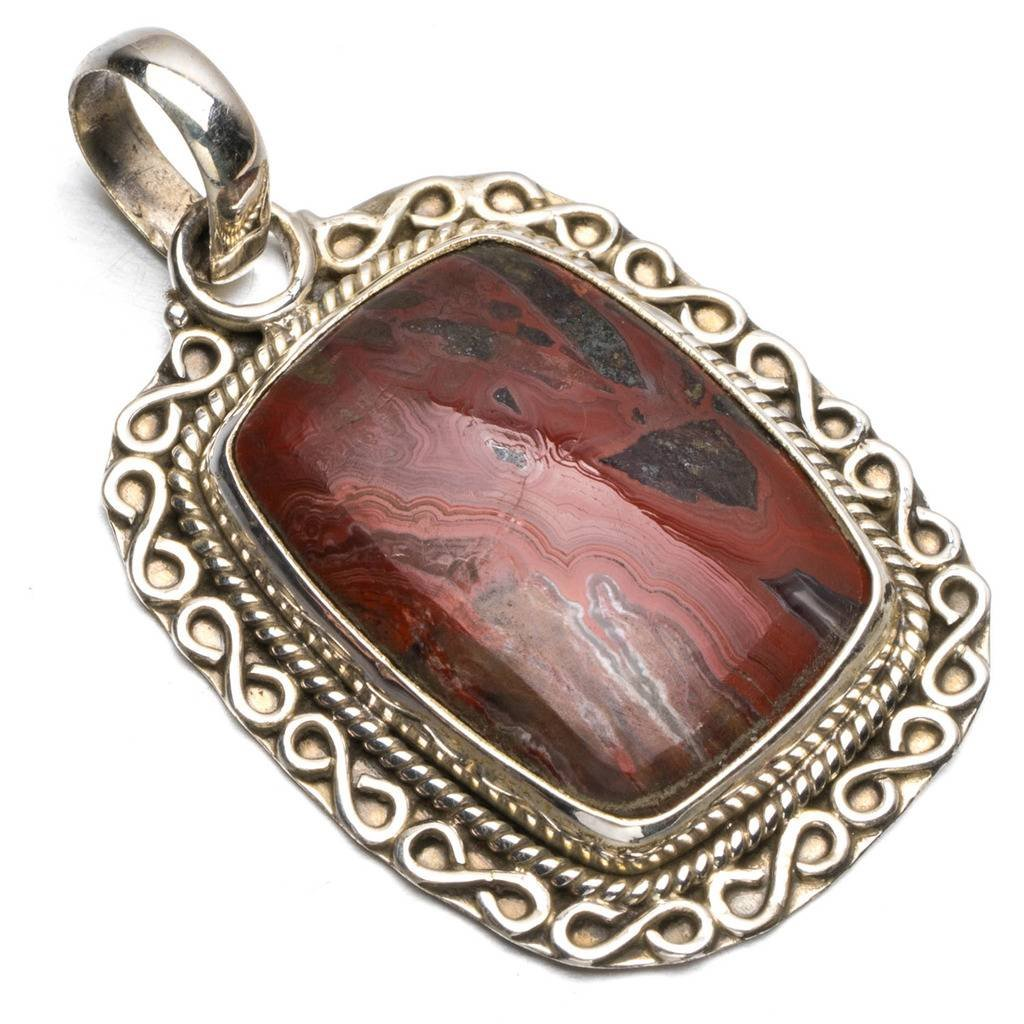 StarGems(tm) Natural Crazy Lace Agate Boho Style 925 Sterling Silver Pendant Necklace 1 1/2 R0713 Kim Yu Lynn JST-SG