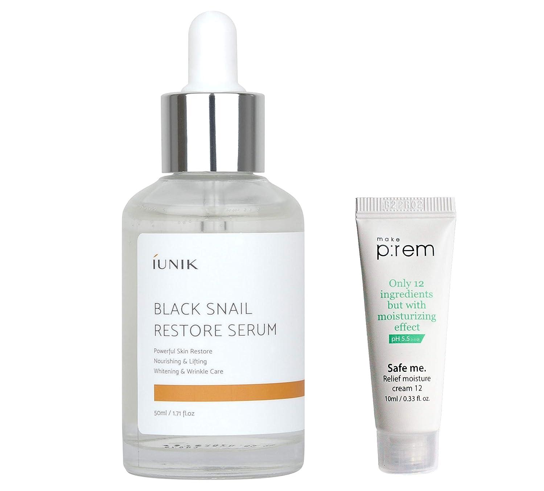 iUNIK Black Snail Restore Serum 50ml/1.71 fl.oz. with MAKEP:REM moisture cream mini   70% Black Snail Secretion Filtrate, Soothing, Anti-Wrinkle, Deep Nourishing