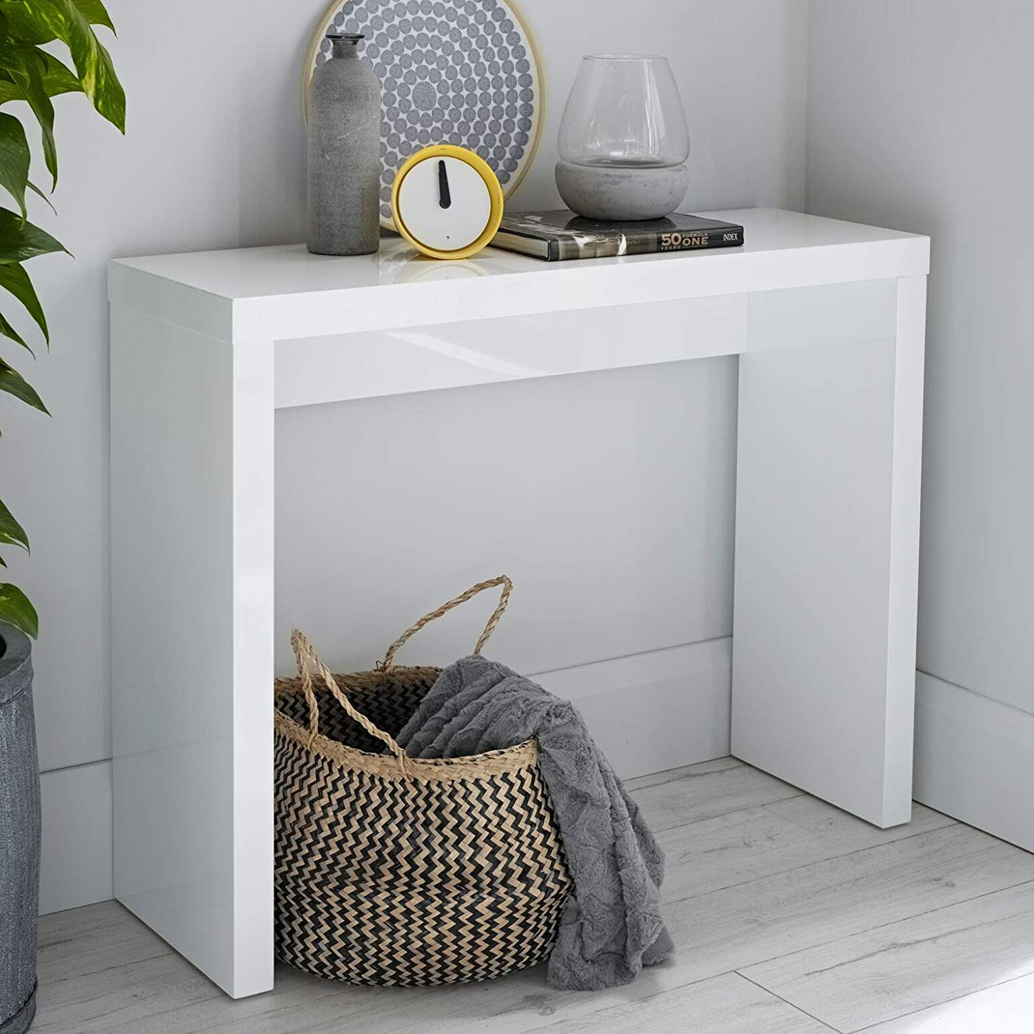 Furniture Octopus Alana Modern White High Gloss Console Table