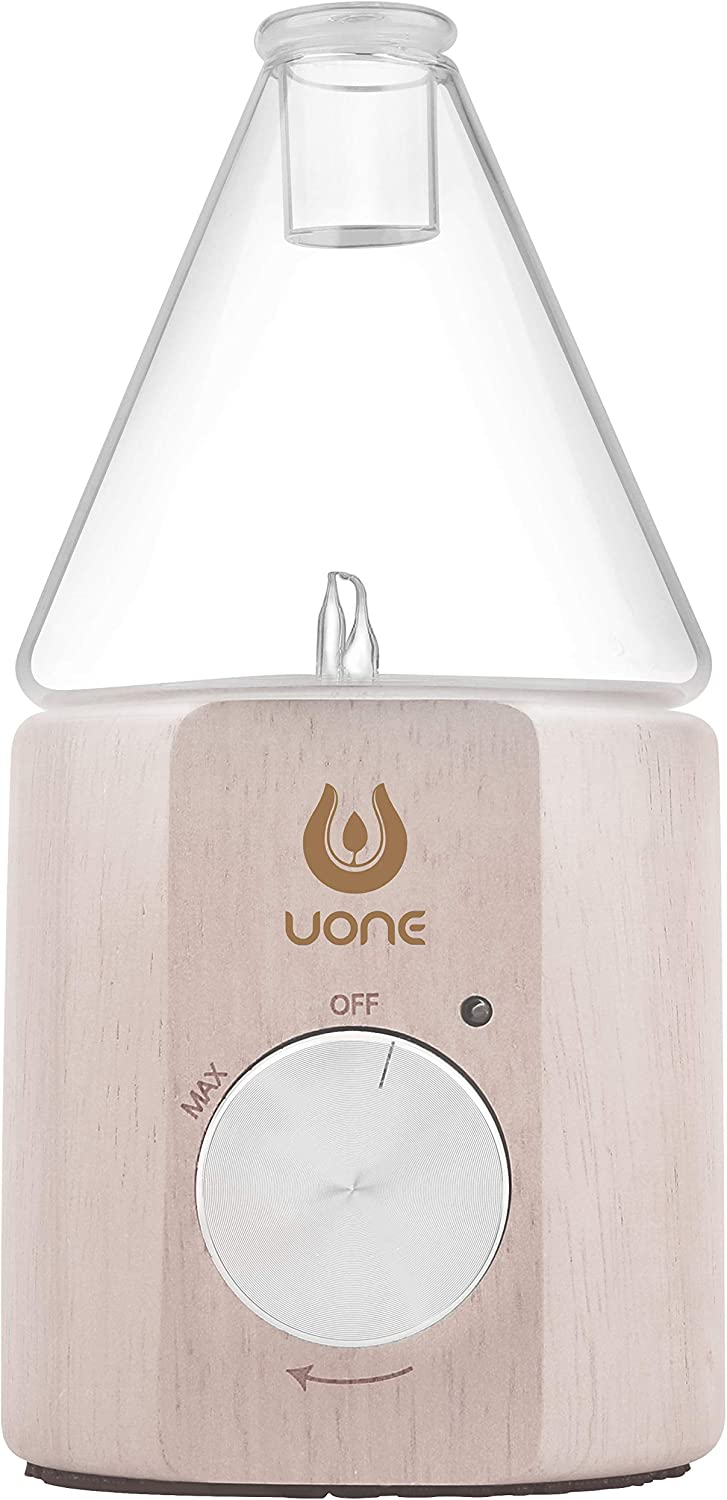 Essential Oil Diffuser for Aroma Nebulizing, Waterless Aromatherapy Essential Oils Nebulizer - No Heat, No Water, No Plastic, Handmade Wood and Glass by UONE