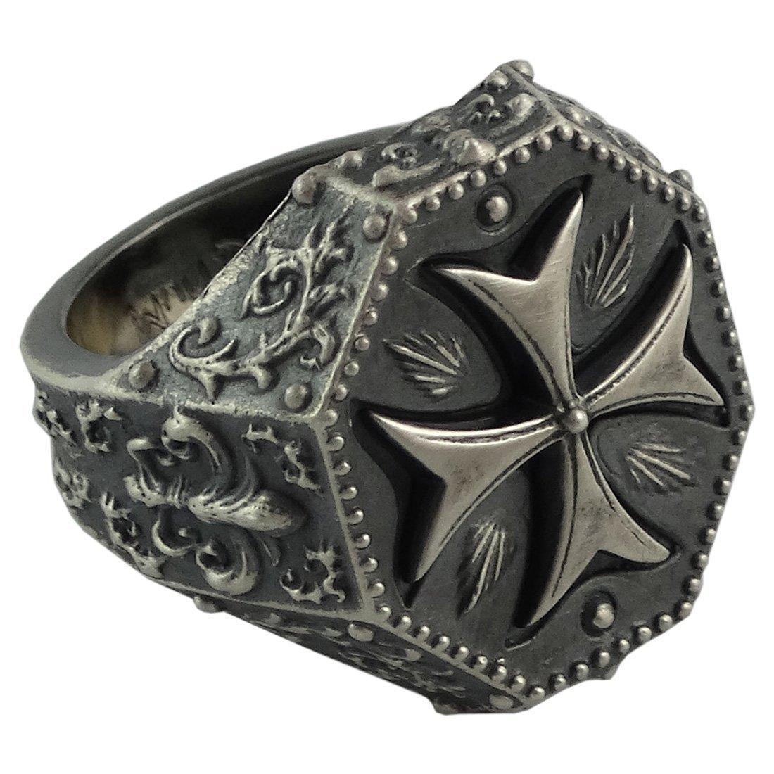 Silver Maltese Cross Knight Templar Mens Ring Fleur De Lis Masonic Jewelry