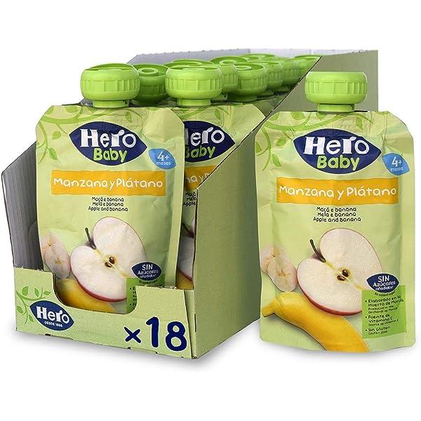 Hero Baby - Bolsita de Fruta con Manzana y Plátano, Sin Azúcares Añadidos, para Bebés a Partir de los 4 Meses - Pack de 18 x 100 g: Amazon.es: Alimentación y bebidas