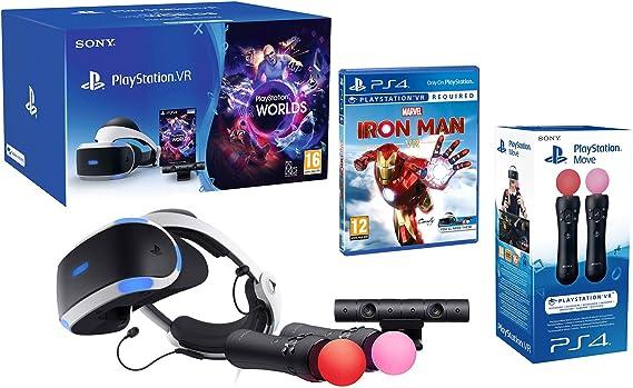 PlayStation VR2 Marvels Iron Man VR + VR Worlds + Mandos Move Twin pack + Camara V2: Amazon.es: Videojuegos