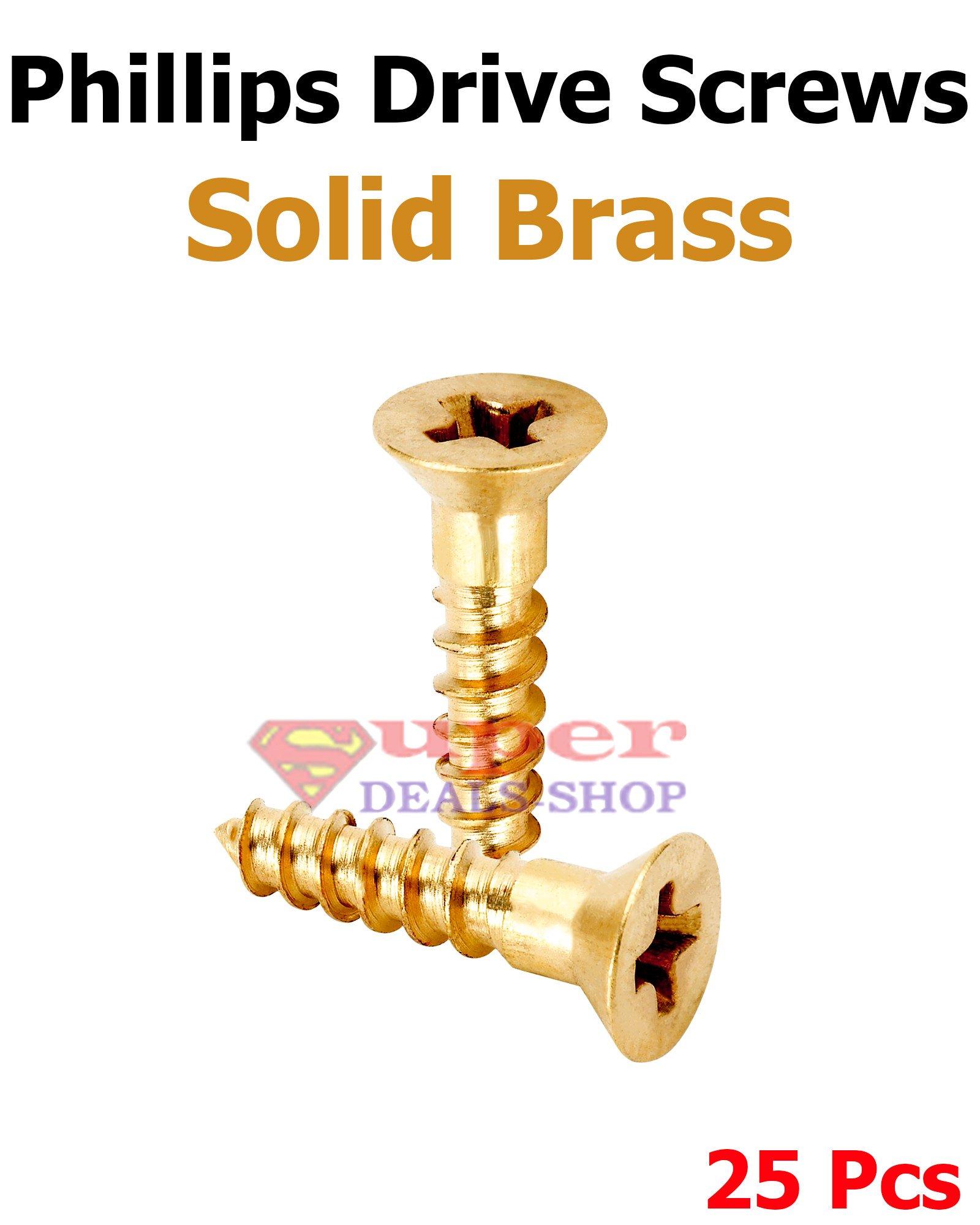 25 Pcs #6 x 1-3/4'' Wood Screws Phillips Drive Solid Brass Deep Thread Design Flat Head Screws Self Tapping Stainless Steel Super-Deals-Shop