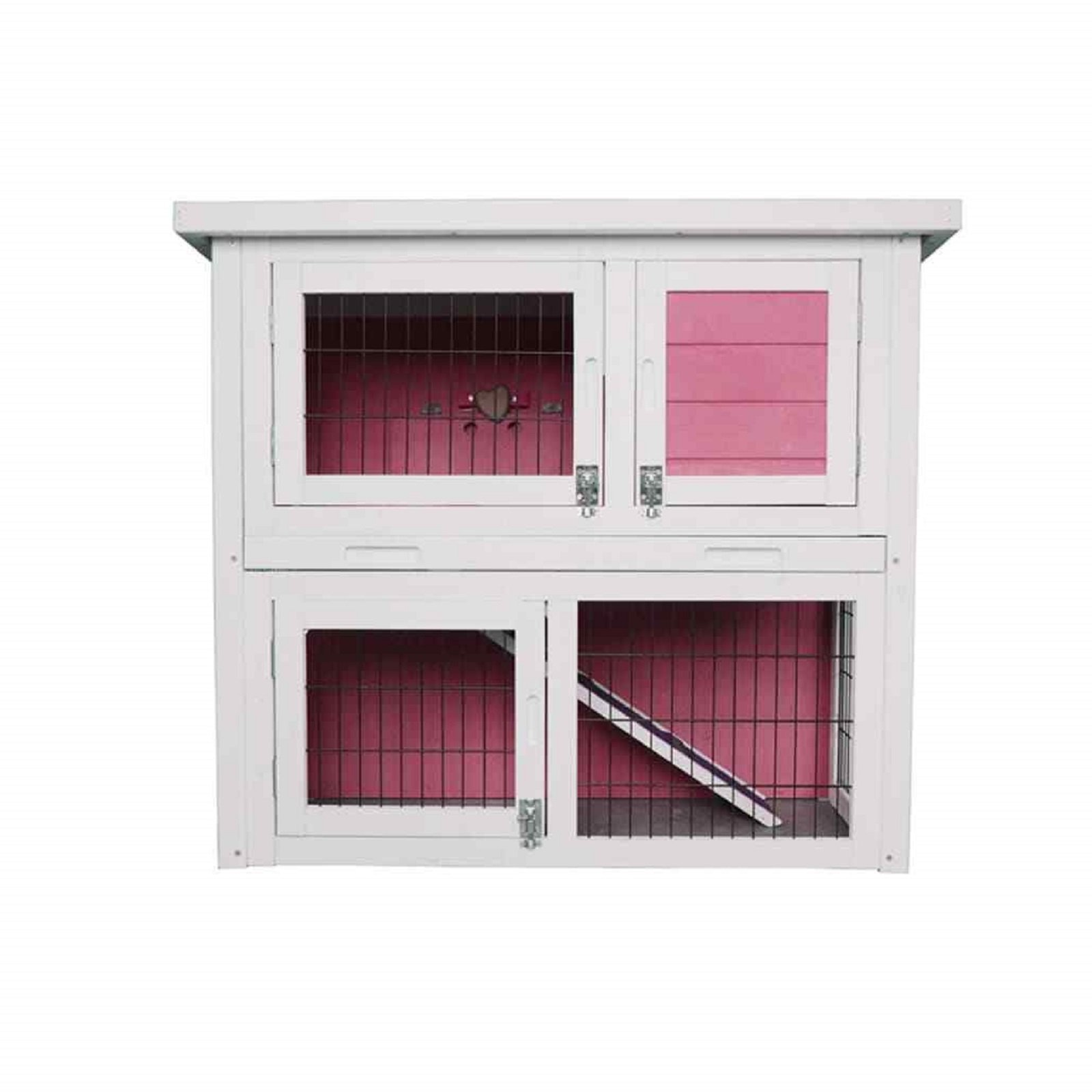 HOT! 32'' Wooden Rabbit Hutch Small Animal House Pet Cage Coop Pink