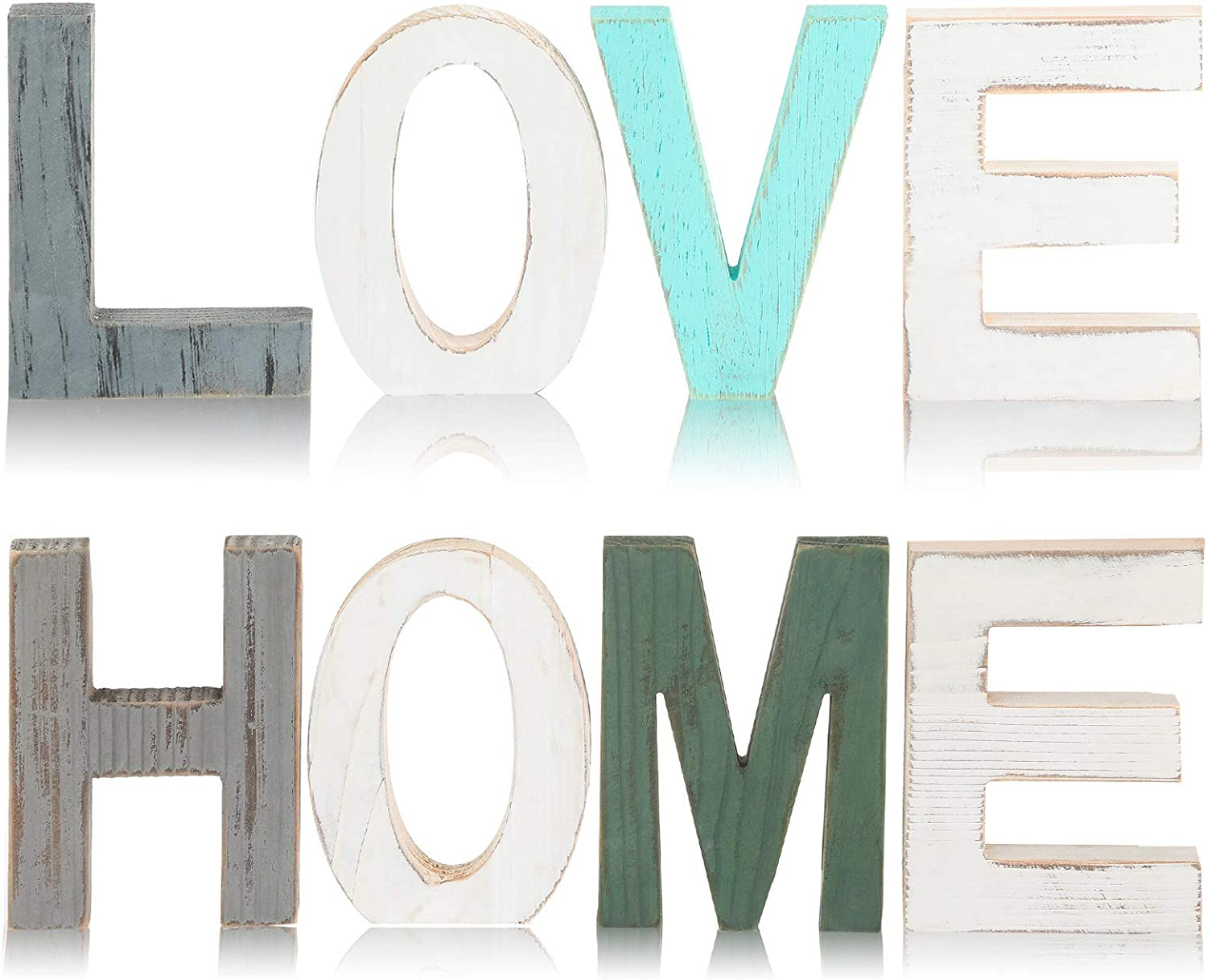 8 Pieces Rustic Wooden Love and Home Letter Wooden Signs Set Home Freestanding Decorative Word Signs Love Wooden Blocks for Home Living Room and Wall Decor