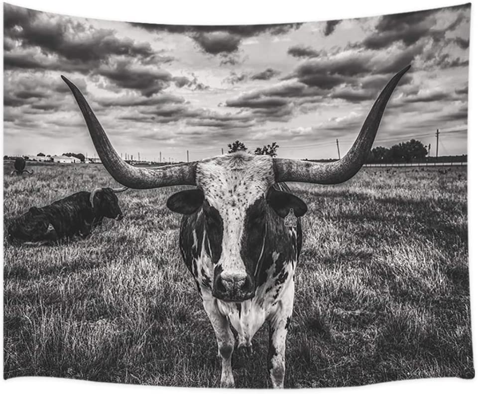 Rustic Farmhouse Tapestry, Black and White Texas Longhorn Steer in Rural Farm Wall Tapestry, Tapestry Wall Hanging for Bedroom Living Room Dorm, 71X60IN Classic Wildlife Longhorn Cow Wall Blanket