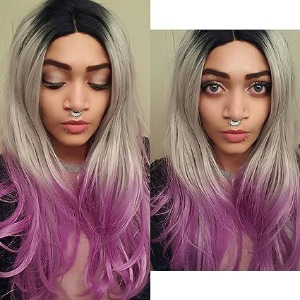 heahair® Nueva caída peinado gris Ombre morado peluca Lace Front sintético para otoño
