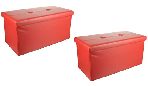 2 Pack Unity Signature Home Collection Premium 15 x 30 x 15 inch Foldable Storage Ottoman Leather Red