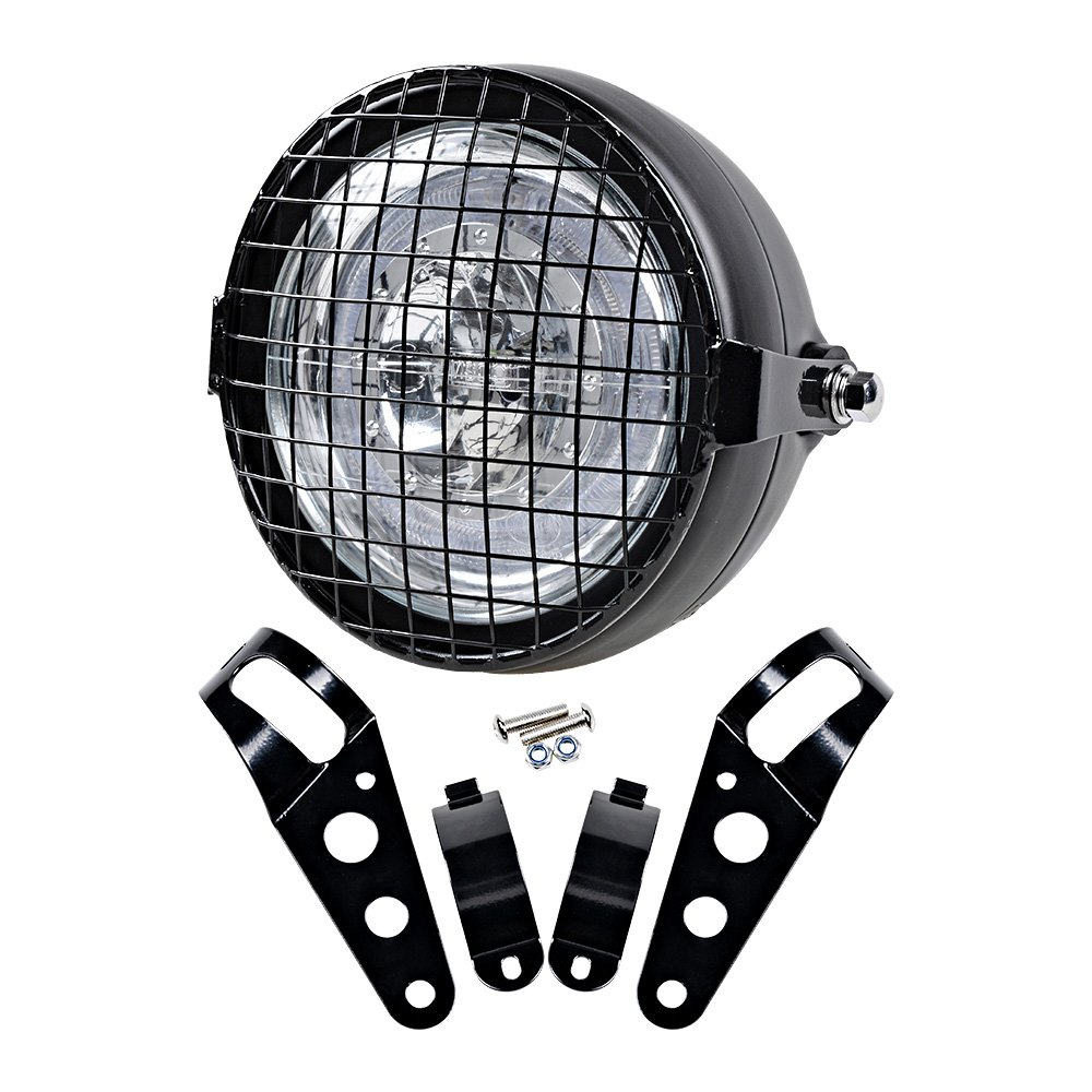 Anzio 6.5' CREE LED Retro Clear Lens Headlight + Headlamp Wire Mesh Mask Grille w/Mount Clamp Cafe Bobber Racer Motorcycle Headlight Grille 4333012686