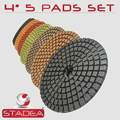 "STADEA Premium Grade Wet 4"" Diamond Polishing Pads Set For CONCRETE Polish - Polishing Pads And Bonnets - .com [5Bkhe0405045]"