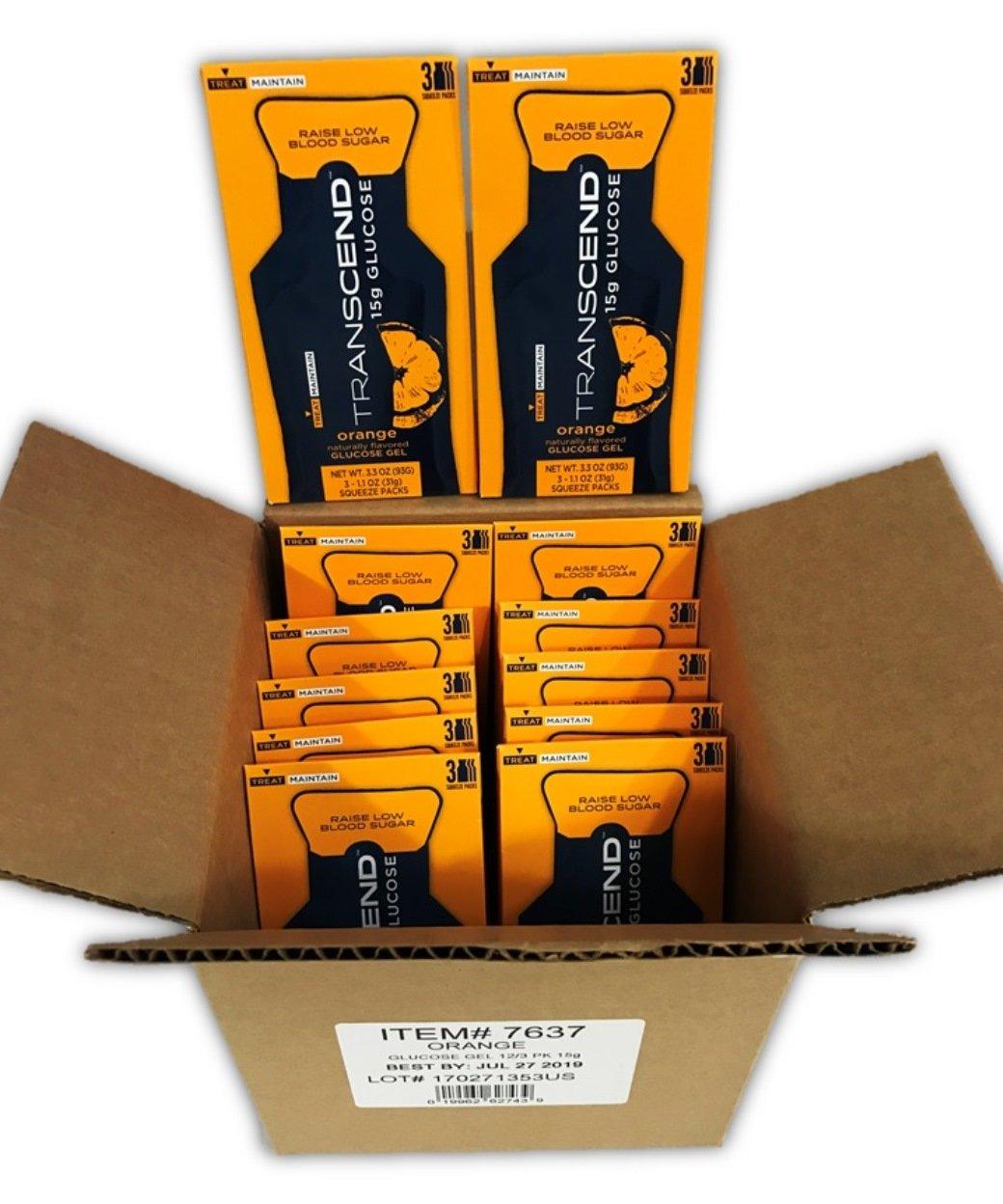 Transcend 15g Orange Glucose Gels in 3-Packs (12)