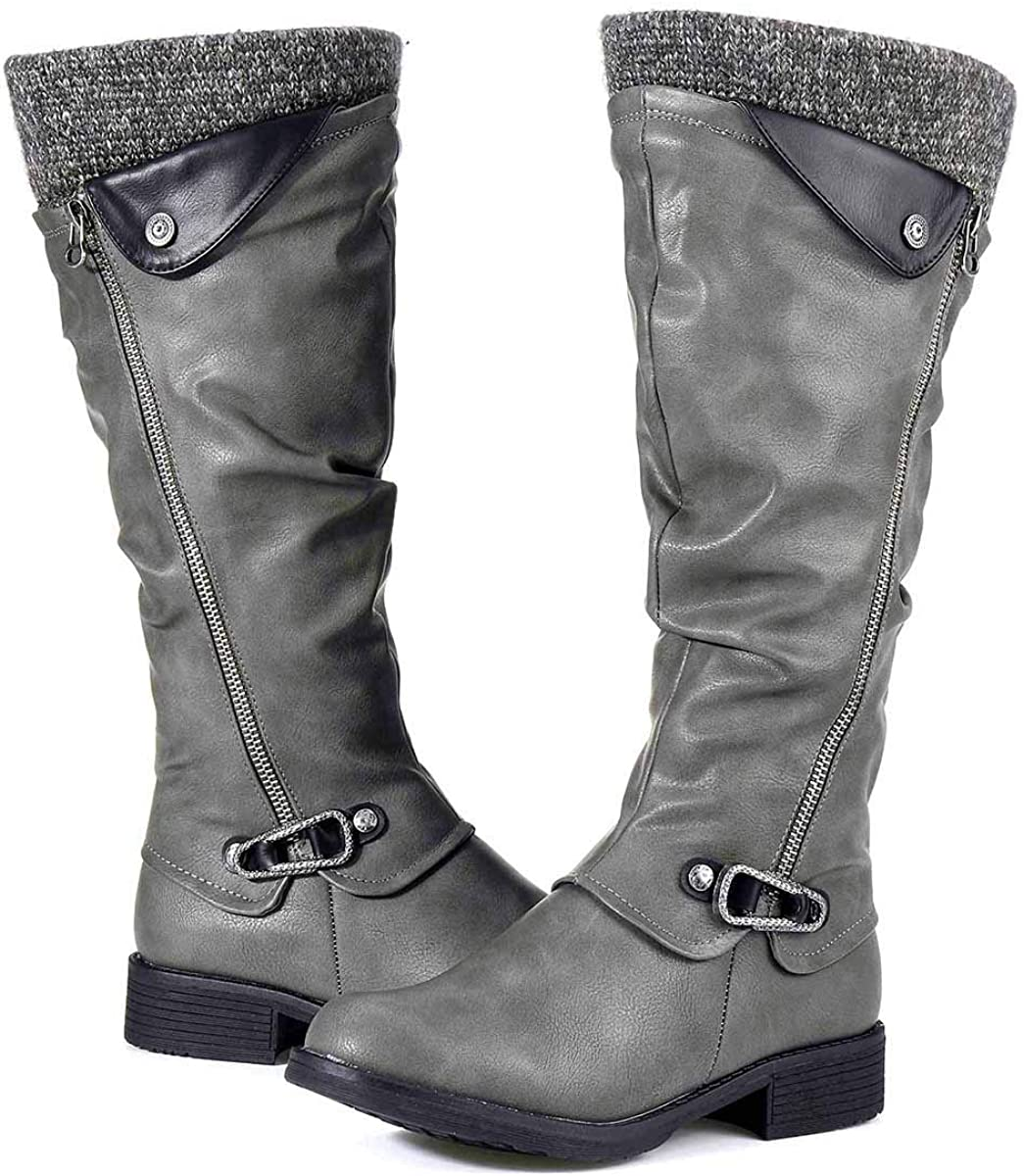 Botas Altas Invierno Mujer, Camfosy Botas de Nieve Caña Ancha Zapatos Mujer Cuña Planos Sintética Peluche Jinete Bajo Cómodos Peludas Calentitas 2020 Negro Gris Marrón: Amazon.es: Zapatos y complementos