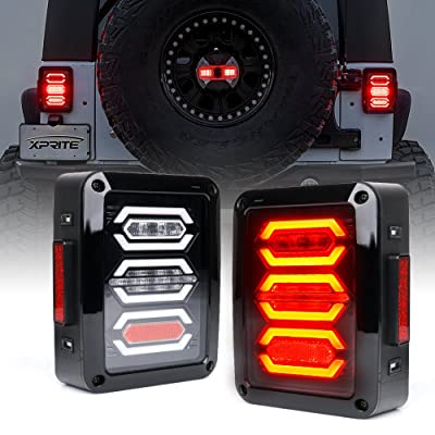 Xprite Clear Lens Red LED Tail Brake Light Assembly w/Turn Signal & Back Up For 2007-2020 Jeep Wrangler JK JKU - G3 Diamond Series: Automotive