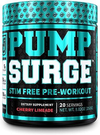 PUMPSURGE Caffeine-Free Pump & Nootropic Pre Workout Supplement, Non Stimulant Preworkout Powder & Nitric Oxide Booster, 20 Servings, Cherry Limeade