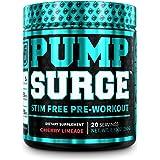 PUMPSURGE Caffeine-Free Pump & Nootropic Pre Workout Supplement, Non Stimulant Preworkout Powder & Nitric Oxide Booster, 20 S