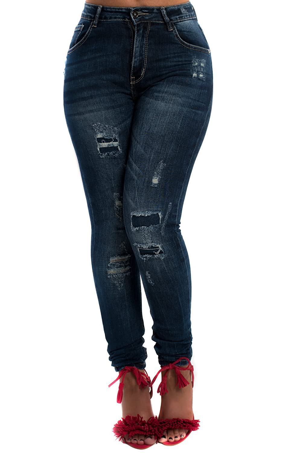 Skinny Fitted Tight Front and Back Pockets Hem Zip Detail Jeans Distressed Denim