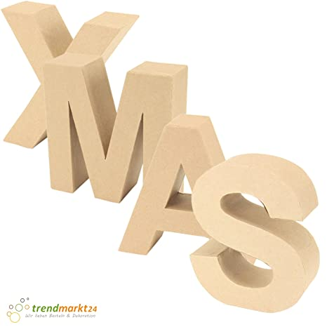 trendmarkt24 Papp-Buchstaben Set Xmas ✓ Papp-Mache Deko-Buchstaben-Set ✓  XXL Groß aus Pappe ✓ H: ca. 17,5 cm B: ca. 5,5 cm | L: je nach ...