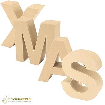 Papp-Buchstaben Set XMAS ✓ Papp-Mache Deko-Buchstaben-Set ✓ XXL ...