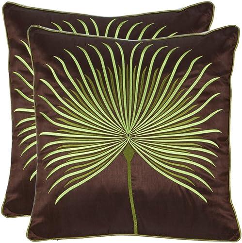 Safavieh Pillows Collection Leste Verte Throw Pillows Set of 2 , 22 x 22 , Green