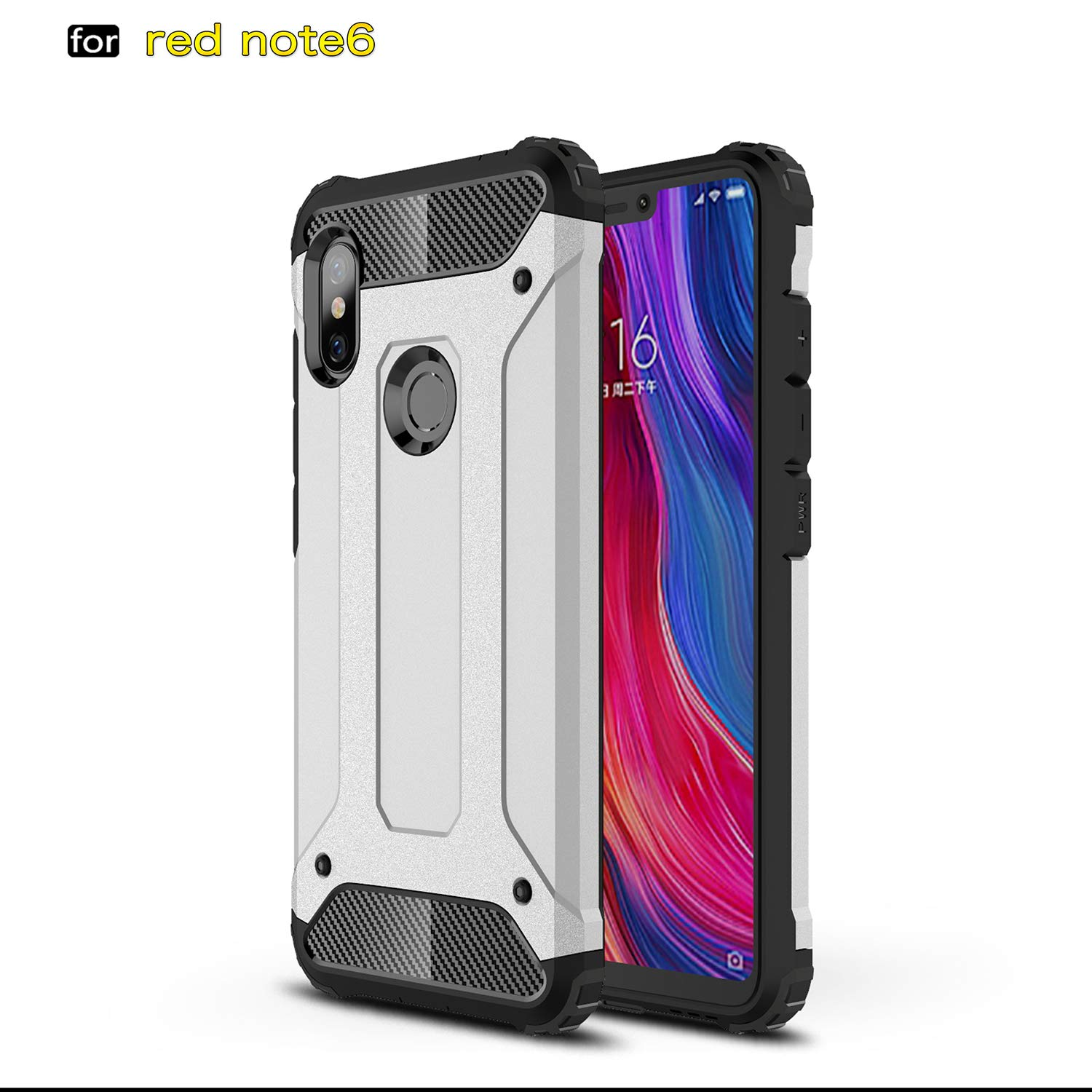 MYLB Xiaomi Redmi Note 6 Pro Case/Redmi Note 6 case, Hybrid Rugged Dual Layer Armor Grip with Rugged Yet Resilient Shock Absorption Design for Xiaomi Redmi Note 6 Pro/Redmi Note 6 Smartphone (Silver) OEM Xiaomi Redmi Note 6/Redmi Note 6 Pro