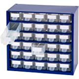 Johnssteel Model 511, 30 Drawer Plastic Parts Type A, Steel Metal Storage Hardware Craft Cabinet Tool Organizer, 12.1-Inch W by 11.1-Inch H by 6.1-Inch D,Blue, Dividers and Labels for Drawers incl.