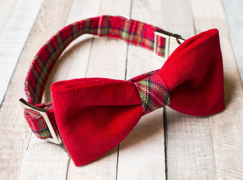 Collare per cani con Papillon in scozzese e velluto rosso