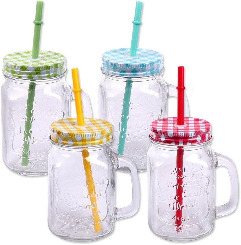 Schramm® Paquete de 4 Vasos con Tapa, asa y Pajita Vasos de Cristal con Pajita para Beber cóctel de Cristal 500ml Jarra para Beber Vintage Retro Garden Terrace