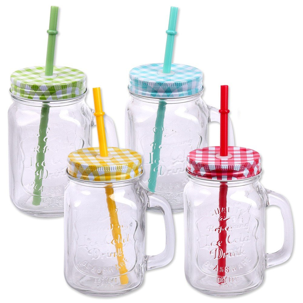 Pack of 4 Drinking Jars with Lid, Handle and Straw Cocktail Drinking Jar 500 ml Vintage Retro Garden Terrace Schramm Onlinehandel
