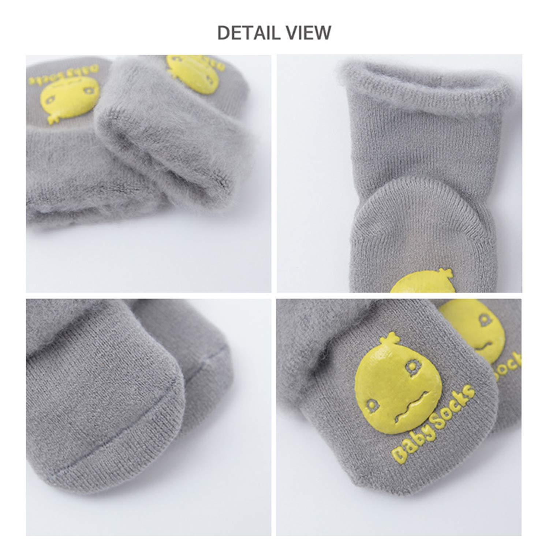 XPX Garment 5 Pack Newborn Unisex Baby Boy Girl Anti Skid Socks Thick Cotton Turn Cuff Tube Slipper Socks