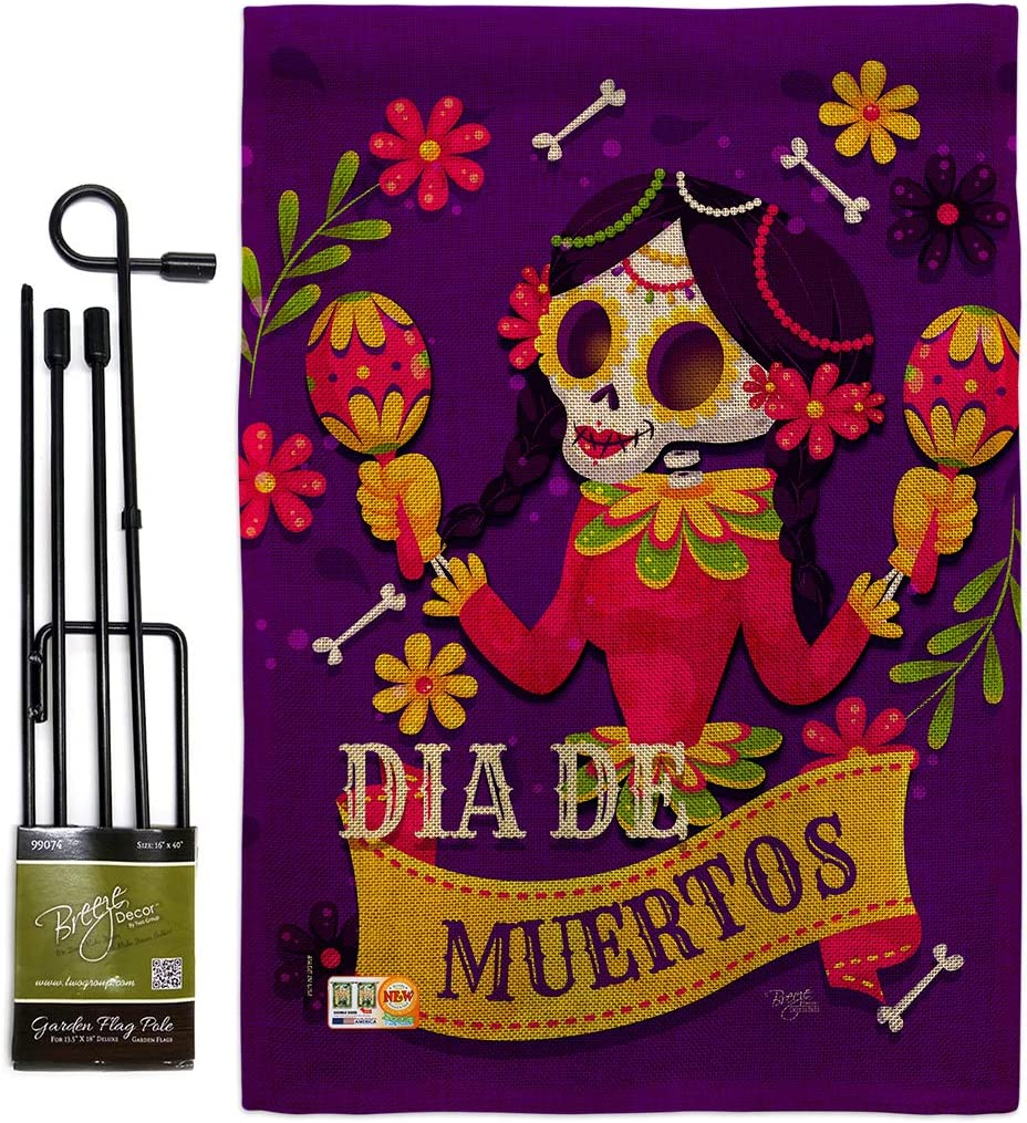 Breeze Decor Day of Dead Lady Dia De Muertos Burlap Garden Flag Set with Stand Fall Los Fiesta Mexican Party Autumntime Small Decorative Gift Yard House Banner Double-Sided Made in USA 13 X 18.5