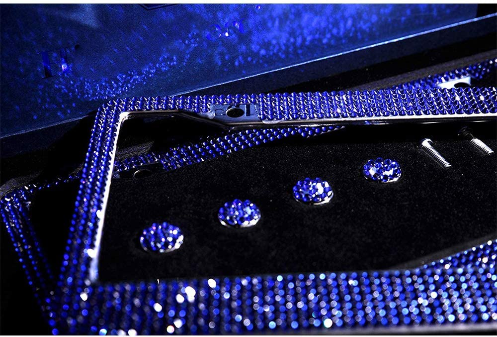 2 Pack Glass Diamond Car License Plate Frame Luxury Handcrafted Bling Rhinestone Premium Stainless Steel License Plate Frame with 14 Facets SS20 Clear Color Rhinestone Crystal Black/&Red-bow