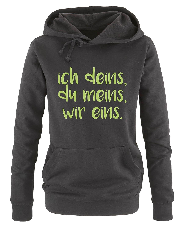 Comedy Shirts K/ängurutasche wir eins Kapuze - Damen Hoodie Print-Pulli Langarm du meins Ich deins