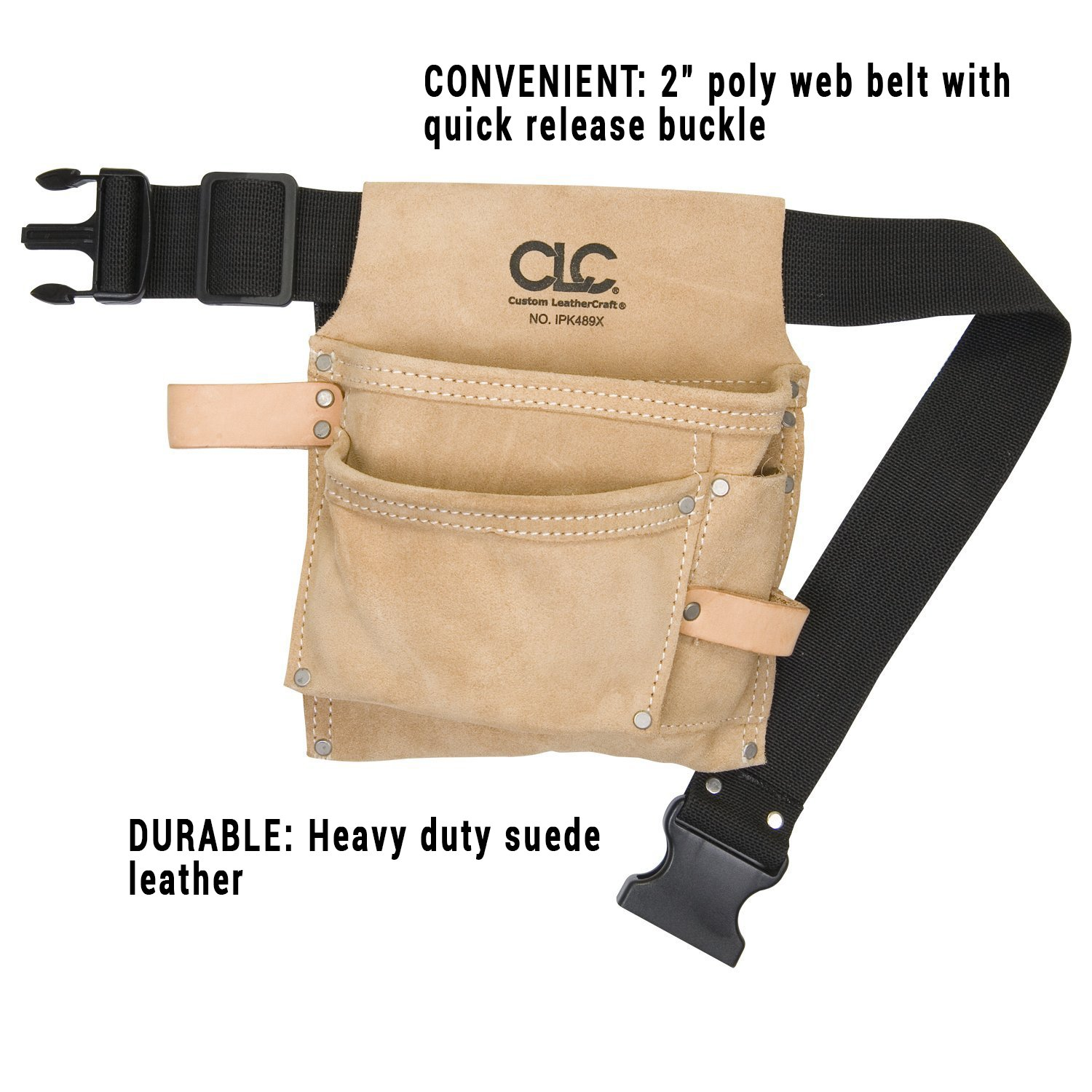 eb551244c8c CLC Custom Leathercraft IP489X Suede Tool Bag & Poly Web Belt, 3 Pocket