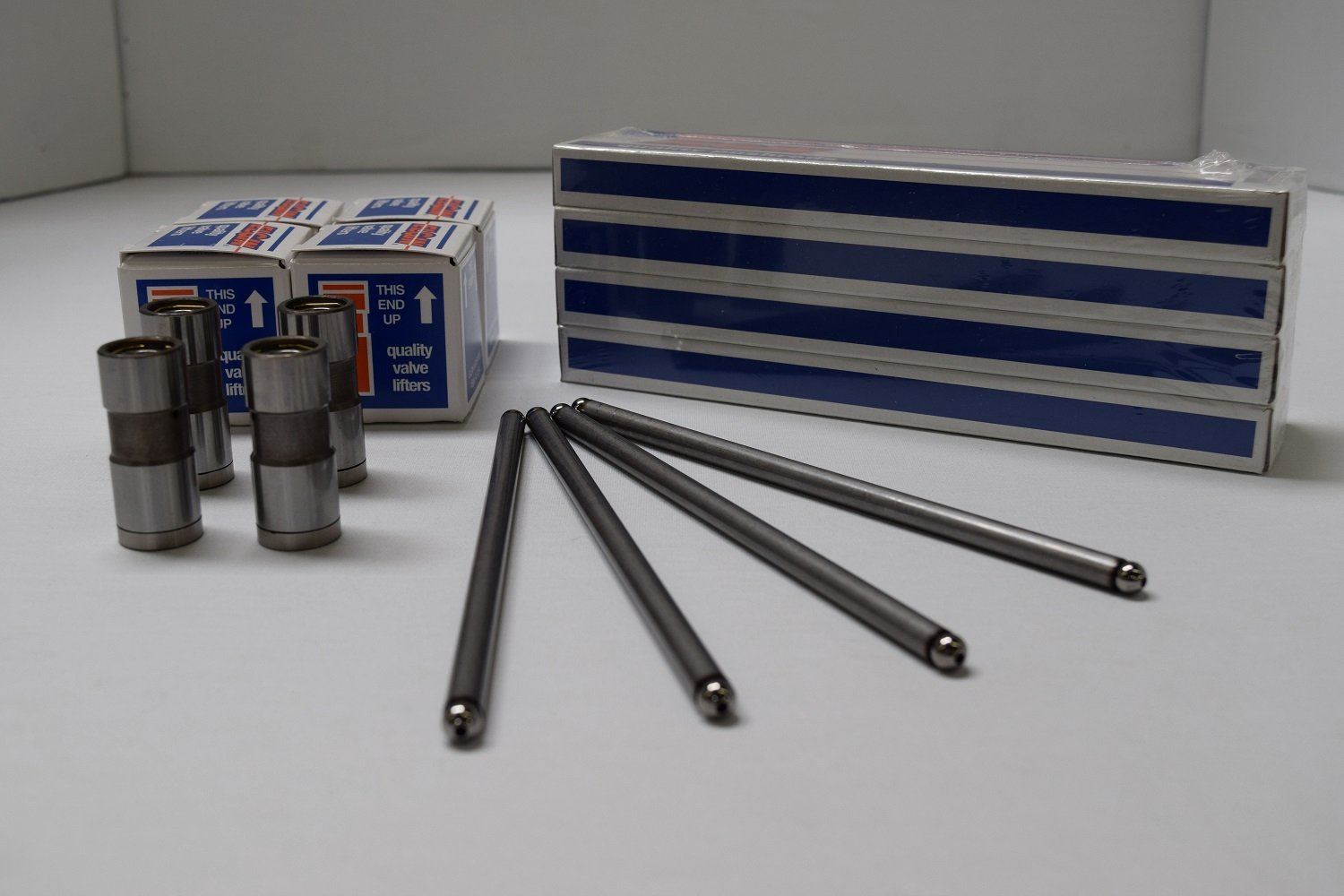 Non Roller Cams Present 6.881 Length Ford V8 Small Block 302 Lifters /& Pushrods Flat Tappet 1969