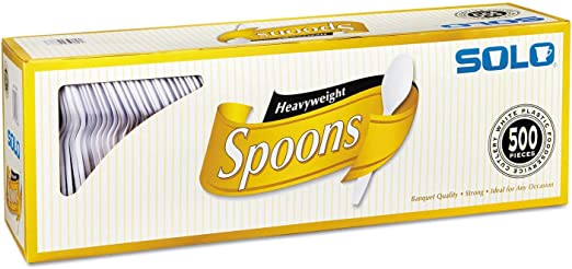 SOLO Cup Company Heavyweight Plastic Cutlery, Spoons, White, 6 in, 500/Carton