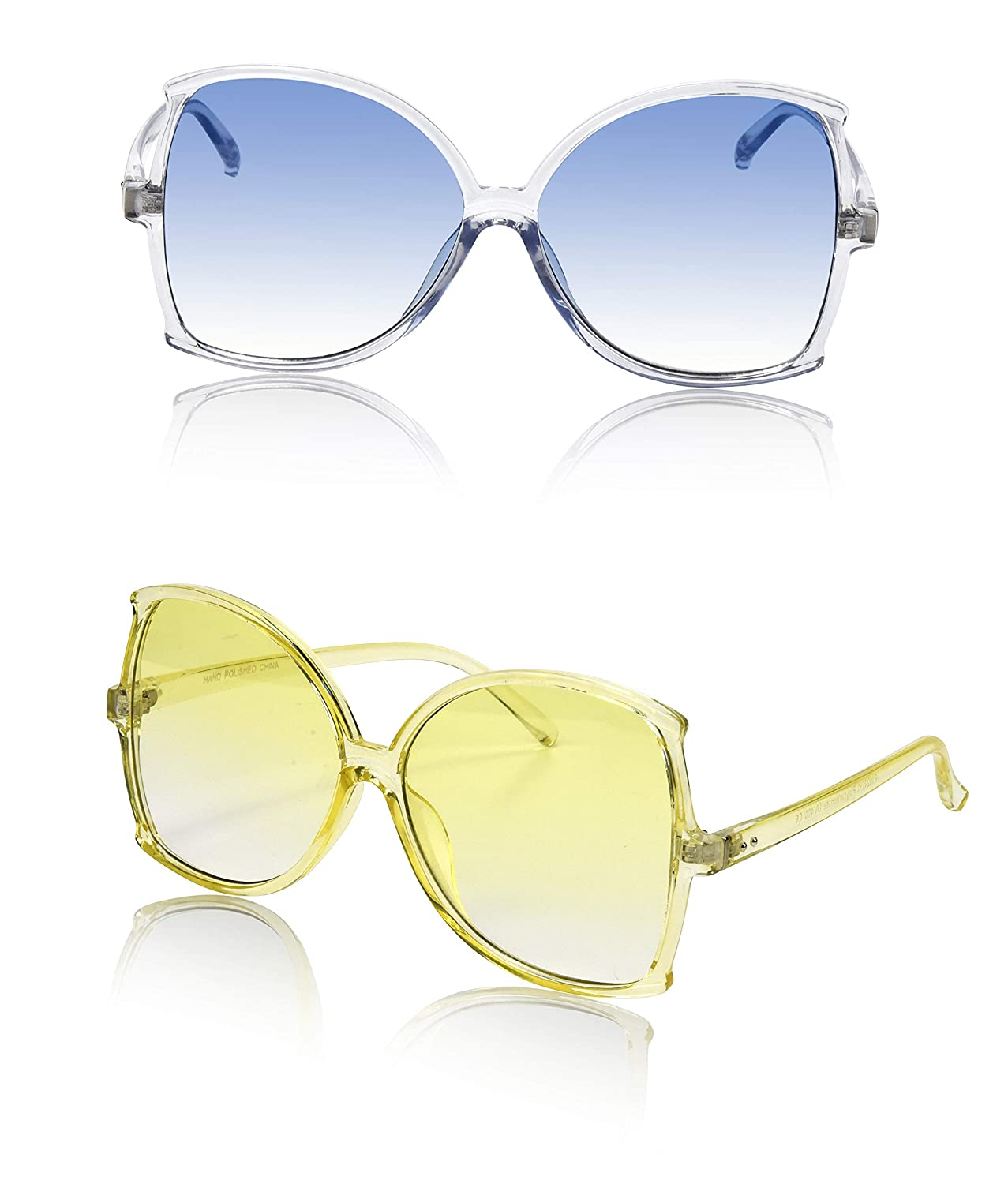 af995a49afa4f Amazon.com  Cool Oversize Colorful Women s Sunglasses Disco Two Bulk Chic  Yellow Blue Tinted  Clothing