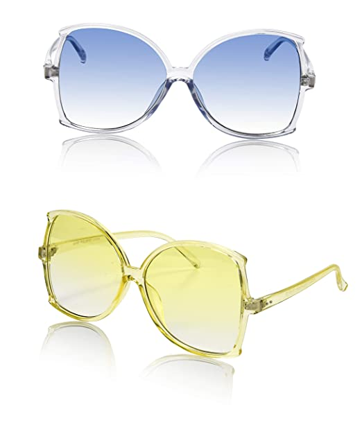 3a3eb083c76d Cool Oversize Colorful Women s Sunglasses Disco Two Bulk Chic Yellow Blue  Tinted