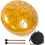 lotmusic Steel Tongue Drum 13 Notes 12inch C key Handpan Drum Kit Tank Drum Percussion Instrument with Drum Mallets Padded Tr