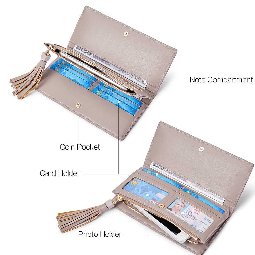 Wallets for Women Fashion Soft Leather Billfold Long Clutch Ladies Credit Card Holder Organizer Purse gray by Romere (Image #3)