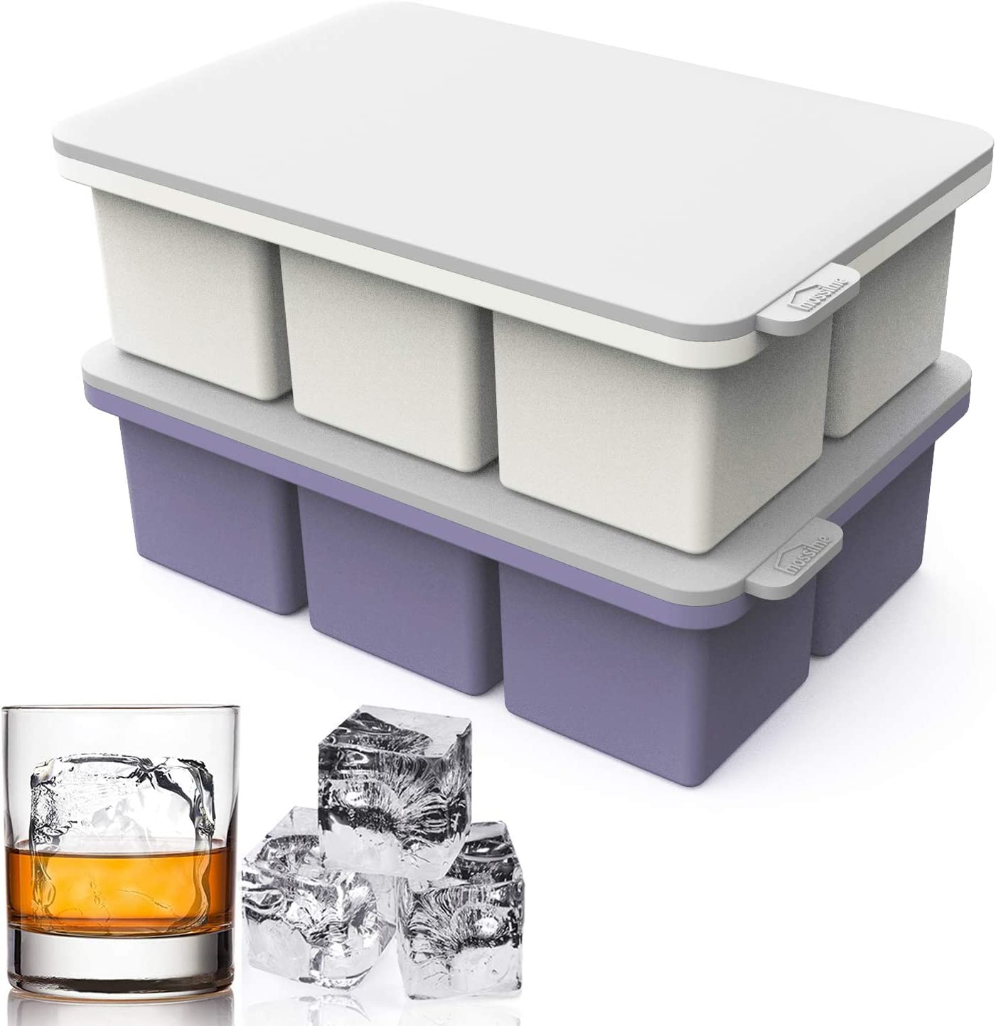 Large Ice Cube Tray Silicone with Lid,2pack Ice Tray Mold,12 Cavity Giant Ice Cube Maker Keep Whiskey Chilled, Easy Release Reusable Mold Maker for Chilling Wine Cocktail Beverage Juice Soup Baby Food