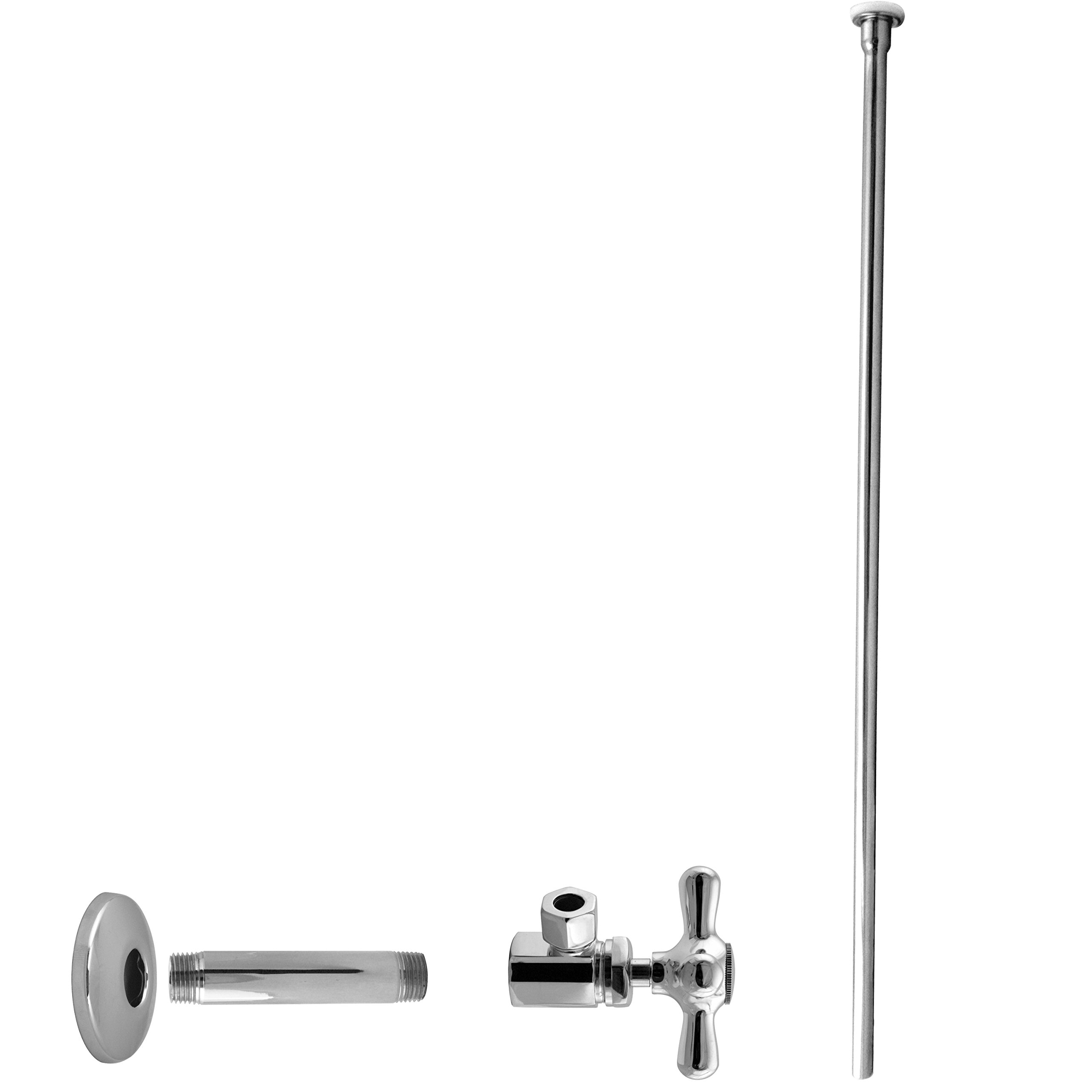 Westbrass Flat Head Toilet Kit with Cross Handles, 1/2'' IPS x 3/8'' OD x 20'', Polished Chrome, D103KFHX-26 by Westbrass