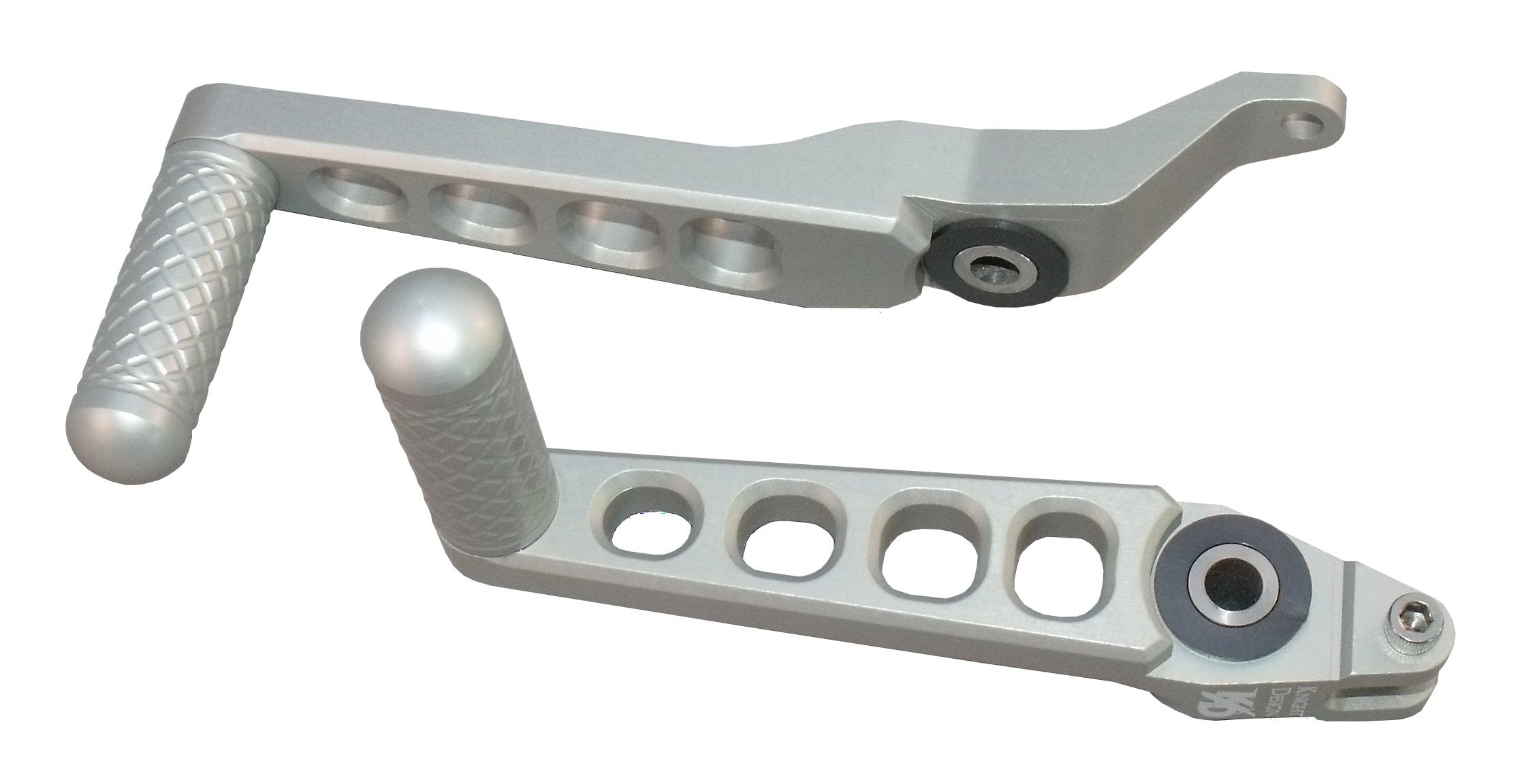 Knight Design Shift And Brake Foot Levers for Buell XB9SX, XB12SX Lightning City X Models, silver anodized