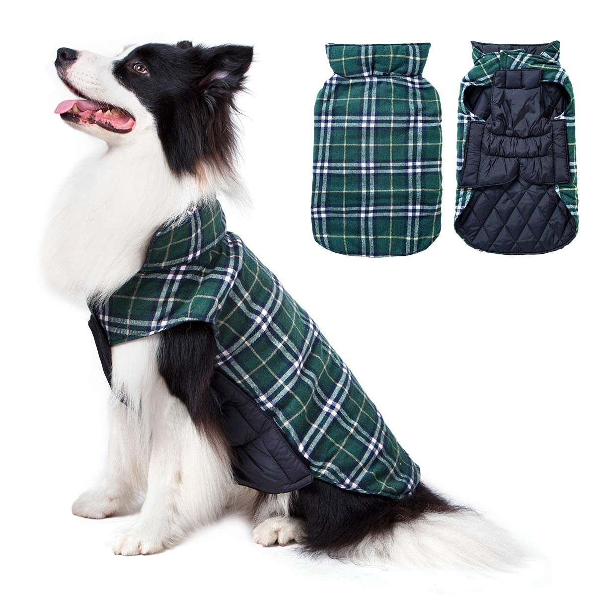 Green XL(Back 16.93 inch;Chest 24.41-28.35 inch) Green XL(Back 16.93 inch;Chest 24.41-28.35 inch) TPHC Dog Sweater Medium Large Dogs, Windproof Waterproof Reversible Dog Jacket Warm Apparel Winter, British Style Plaid Dog Coat Cold Weather,Green XL