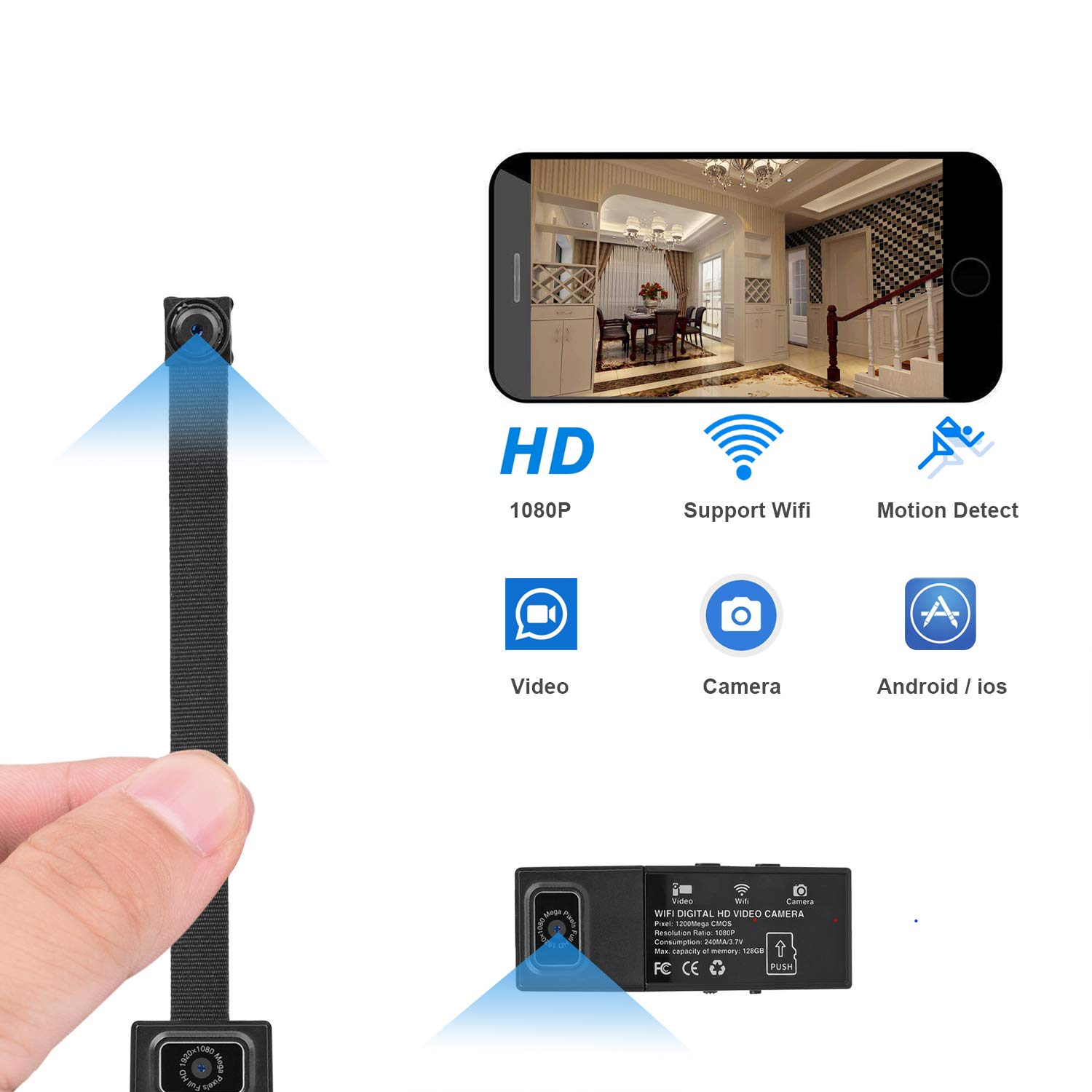 OHPA Mini Spy WiFi Hidden Camera,Portable Home mini Spy Camera,1080P HD Spy Cam with  Motion Detection by OHPA