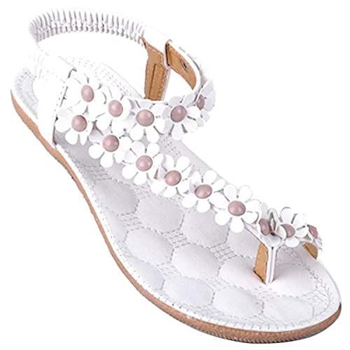 Donna Sexy Girls Estate Pantofole Boemia Fiore Tallone Scarpe Flip Flop  Sandali Piatti Infradito ( Bianco