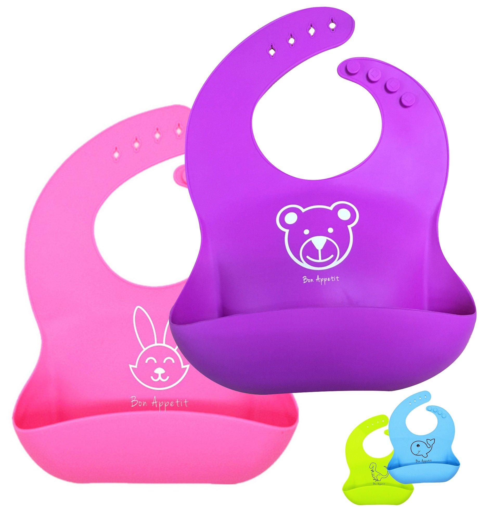 Soft Waterproof Silicone Baby Bib Easy Wipe - BPA Free - 100% Food Grade Silicone - Soft Comfortable Adjustable Collar - Foldable - 2 Pack Baby Bibs (Pink Purple) Friendly Animal Print Baby Bibs