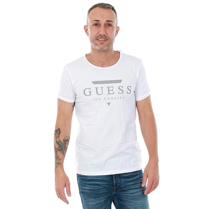 GUESS Camiseta Hombre XXL Blanco U82M00JR00A - A009: Amazon.es ...