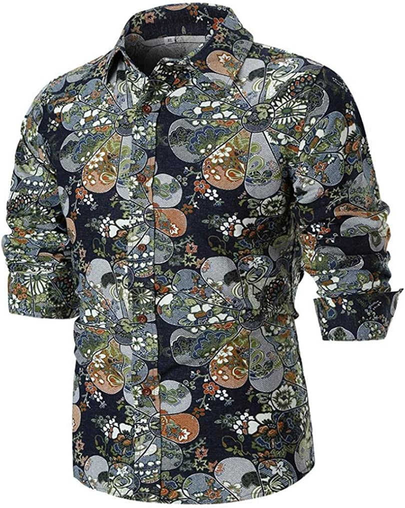 Longay Men Plus Size Linen Buttons Down Casual Shirt Flowers Printed Long Sleeve Slim Fit Top